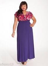 NWT Authentic Plus Size IGIGI Linea Maxi Dress in Floral/Violet,18/20