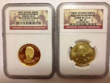 2008 W ELIZABETH MONROE FIRST SPOUSE PF70  PR70 MS70 2 COIN SET