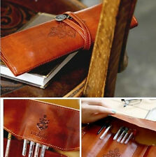 Foldable Imitation Leather Pencil Case Vintage Cosmetic Pouch Bag