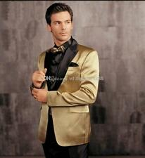 Gold Jacket Black Pants Groom Tuxedos Best man Suit Groomsman Men Wedding Suits