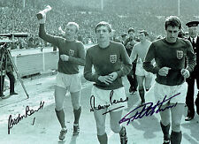 Geoff Hurst Martin Peters Gordon Banks SIGNED 1966 England 16x12 Photo AFTAL COA