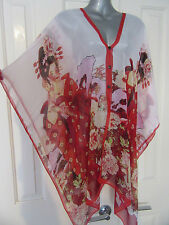 NEW Red Japanese Geisha Print Exotic Sheer Shawl Opera Gypsy Dramatic