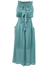 Anna-Kaci S/M Fit Turquoise Bowtie Maidenly Retro Inspired Pocketed Maxi Dress