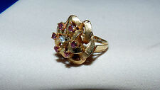 GORGEOUS  LARGE 14K 585 YELLOW GOLD, DIAMOND & AMETHYST RIBBON COCKTAIL RING
