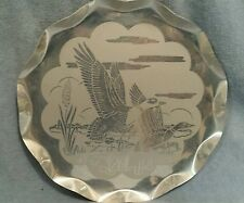 """VINTAGE ALUMINUM SERVING/WALL ART TRAY ;WATERFOWL, ETCHED ON IT; 14"""" DIAMETER"""