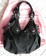 FRANCESCO BIASIA Handbag Bag Purse Tote Black Charcoal Brushed Suede Leather