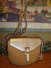 MICHAEL KORS SIENNA STRAW MEDIUM MESSENGER BAG HOBO GOLD LEATHER CROSSBODY $248