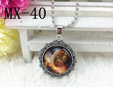NEW Galaxy and Planet Glass Hollow Moon Shape Pendant Silver Tone Necklace