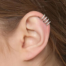 Lovely Women Snake Ear Cuff 100% 925 Sterling Silver Single Earring No Piercing