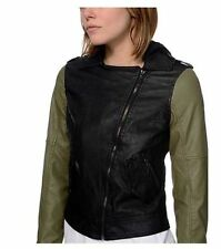 GLAMOUR KILLS Black/Army Green LEATHER HOODED MOTO JACKET PUNK ROCK HIPSTER GOTH