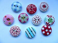 25 pcs  Mixed Patterned  Wood Scrapbooking //  Sewing Buttons 15mm
