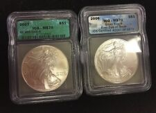 Two ICG Graded American Silver Eagles. 2006 MS70 First Day Issue . 2007 MS70