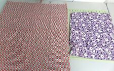 2 Vintage Print Feedsack Fabric Pieces- Red White Blue Squares & Purple Floral