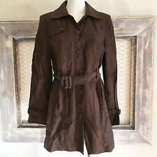 Style & Co Trench Coat Button Long Brown Metallic Sparkle M Medium Women's