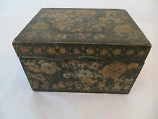 Antique Kashmiri Indian Wooden Handpainted 19thcentury Rectangular Box w Flowers