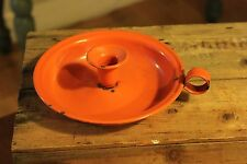 Vintage Bright Orange Enamel Candleholder / Chamber Stick – Great Colour! –