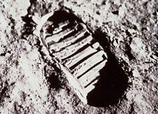 Framed Print - Neil Armstrong's Famous Footprint on the Moon (Picture Poster Art