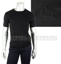 GUCCI MENS TOP BLACK COTTON JERSEY T-SHIRT LOGO SIGNATURE DETAIL XL EXTRA LARGE