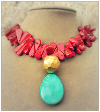 BLUE TURQUOISE pendant red FRINGE LG CORAL SEA EARTH ART MEDLEY NECKLACE JEWELRY