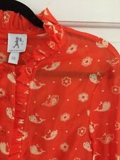 Anthropologie Karen Walker Runway Tangerine Whale Blouse NWOT 6