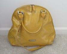 COLE HAAN Large Yellow Patent Leather Satchel/Shoulder Bag Handbag Purse- Used