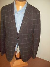 Gant by Michael Bastian 100% Wool Dark Brown Windowpane Sport Coat NWOT 40R $695
