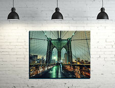 "Brooklyn Bridge New York framed Canvas Wall Art 14""x11""inch and a 3/4"" frame"