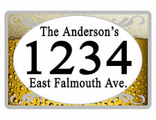 Personalized ADDRESS Sign YOUR NAME Weather Proof Aluminum SIGN FULL COLOR Beer