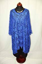 Lagenlook°EDEL-Ballon-Kleid-Tunika°SPITZE°ROYAL-BLUE°52,54,56,58,60,62,XXXXXL