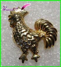 Pin's Pins badge Un Coq Couleur doré avec pierre brillante Cock #9