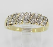 Yellow Gold Diamond Wedding Band Anniversary Ring Size 7 Round Stackable
