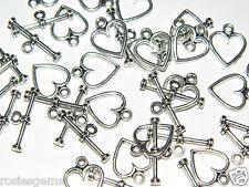 20 brand new heart design toggle fermoirs idéal pour fabrication de bijoux