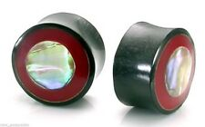 """PAIR-Horn w/Coral & Mother of Pearl Double Flare Plugs 18mm/11/16"""" Gauge Body Je"""