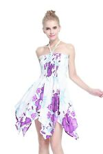 Tropical Hawaiian Luau Dress Cruise Gypsy Uneven Beach White Purple Cluster
