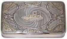 Sterling Silver French Snuff Box Paris Arch Monument Minerva Hallmark Gold Gilt