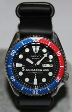 SEIKO 6309-7290 Vintage Pepsi Scubapro 450 Diver's Watch Automatic Leather Strap