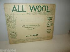 VINTAGE GARMENT INDUSTRY TRADE CARD ALL WOOL JC FIELD TAILORING CHICAGO #9612