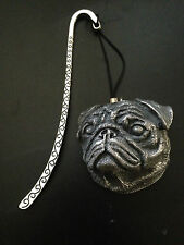 Pug Head Dog Pewter Effect Animal 3D Emblem on a pattern bookmark with cord