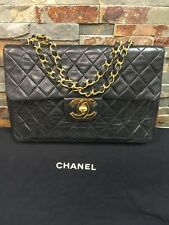 Chanel Vintage Xl Maxi Jumbo Lambskin Classic Single Flap 2.55 CC Shoulder Bag