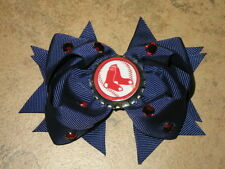"NEW ""BOSTON RED SOX"" Pro Baseball Girls Ribbon Hair Bow Rhinestone Clip MLB"