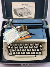 VINTAGE Typewriter ROYAL SAFARI Portable Blue Manual w/ Case MID CENTURY MODERN