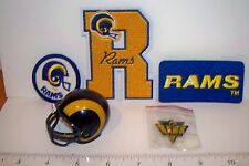 "Set 5 1980s 90s LA Los Angeles Rams Old Logo 3 Patches Pin 2"" Pocket Pro Helmet"