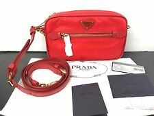 NWT AUTHENTIC PRADA Nylon Crossbody Shoulder Bag In Red W/Saffiano Leather Trims