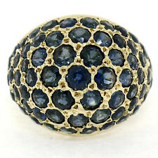 Vintage 18K Yellow Gold 6.00ctw 63 Pave Round Sapphire Domed Cluster Ring Sz 5.5