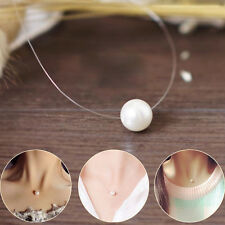 Simple Women Invisible Finshing Line Chain Pearl Pendant Choker Necklace Collar