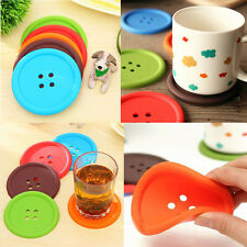 2x Big Colorful Silicone Button Coaster Cup Cushion Holder Drink Placemat Mats F
