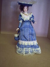 Dolls house figure 1/12th scale porcelein Victorian Lady in Blue dress