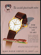 1950s Vintage 1955 Buren Watch Co Factory Building Grand Prix Watch Art Print AD