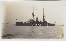 "Royal Navy Real Photo. HMS ""Caesar"" Pre-dreadnought battleship.  c 1905"