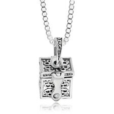 Metal Urn Cremation Pendant Necklace Ash Holder Mini Keepsake Jewelry Silver